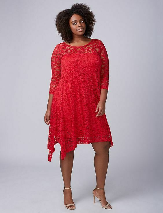NEW LANE BRYANT PLUS SIZE RED 3 4 SLEEVE LACE SWING DRESS SZ 26 28