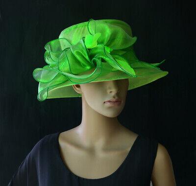 Damenhut Verde Organza Cappello Brauthut Organzahut Anlasshut Fiocco Piume-mostra Il Titolo Originale Elegante Nello Stile