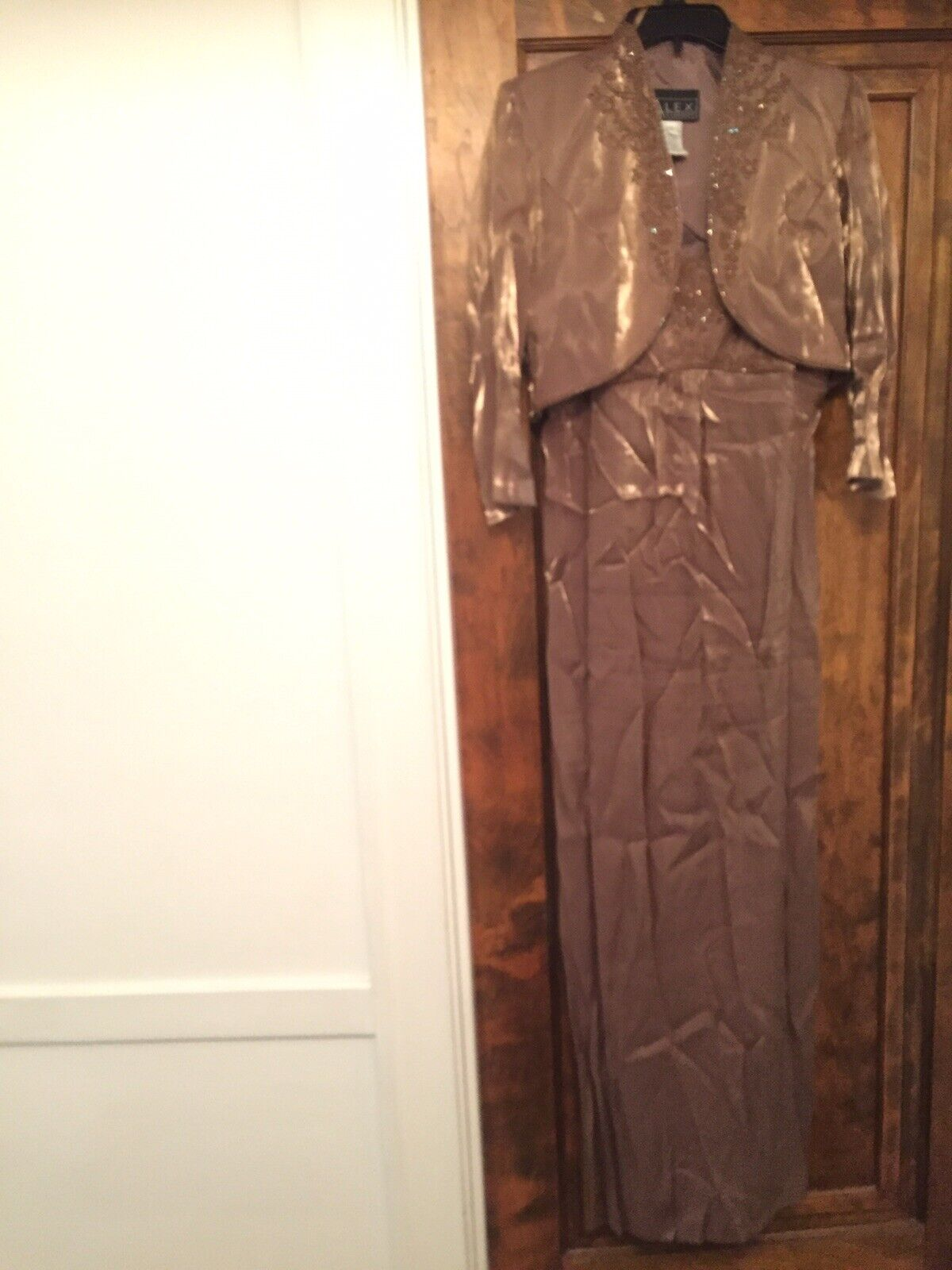 Alex Evenings Formal Dress 10 Gold Brown Iridescent Sequin With Jacket