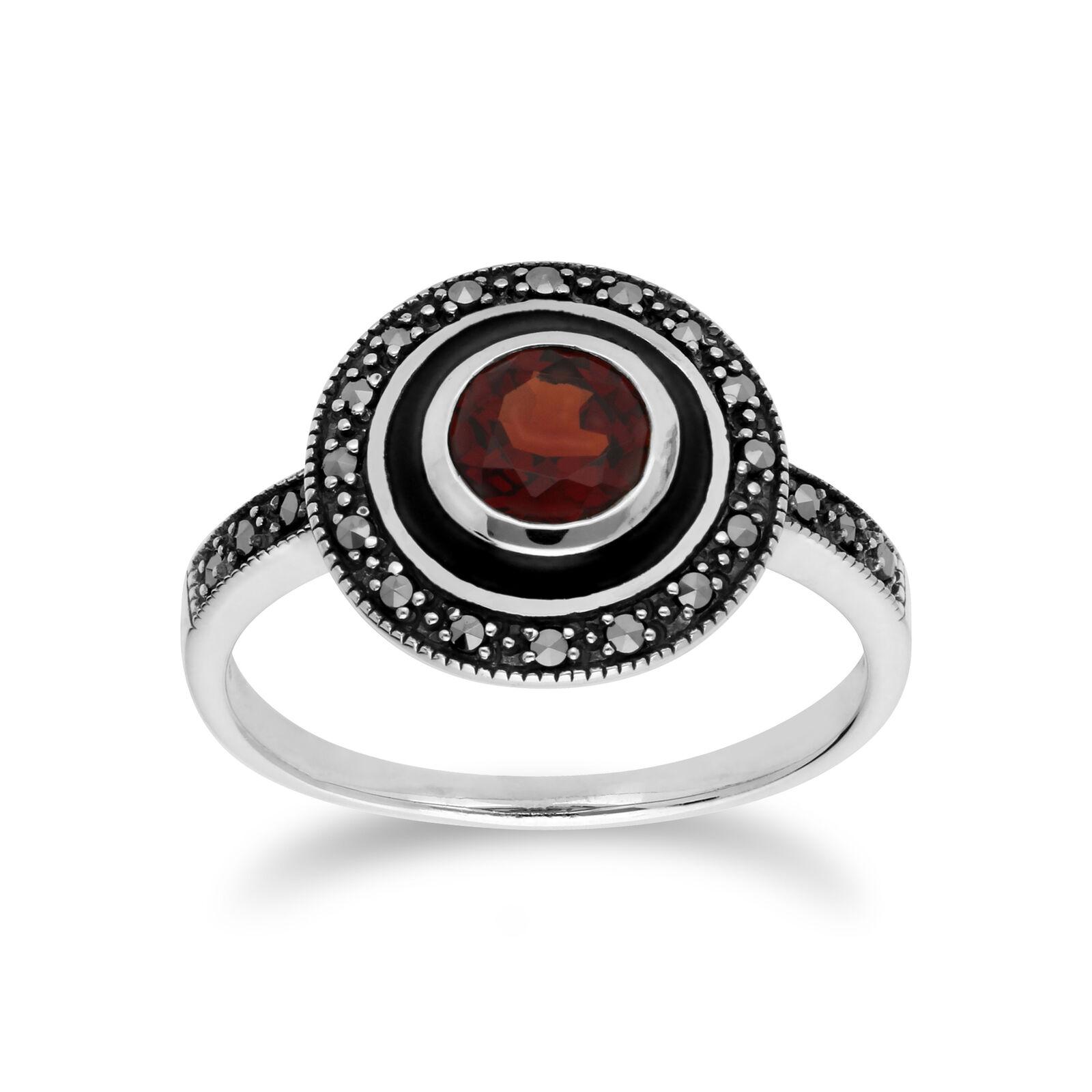 Gemondo Sterling silver Granat & Markasit & black Emaille Ring