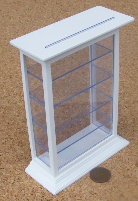 1:12 Scale Large White Painted Shop Counter Display Case Dolls House 462
