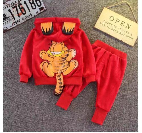 "Joggers Pant Set 6M-4yrs /""Garfield/"" cat Kids Toddler Boy Tracksuit Hoodie"