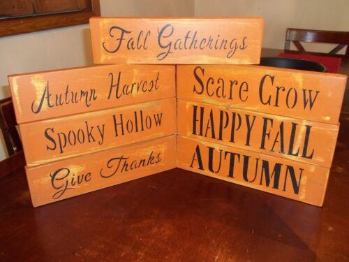 Wood Signs Fall Halloween Decor VTG Prim//Rustic Wood Shelf Sitter Block Signs