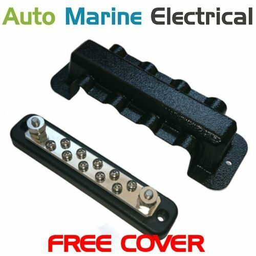 150A Auto /& Marine Power Distribution Bus Bar 10 Way Screw with Cover