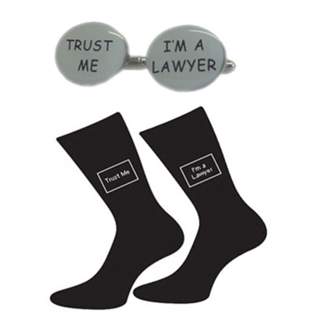 High Quality Oval Trust Me I'm a Lawyer Black Socks & Oval Cufflinks