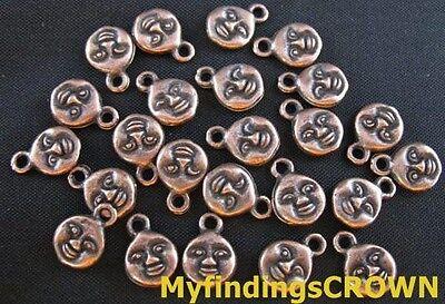 150 Pcs Antiqued copper smile face charms 11mm FC249