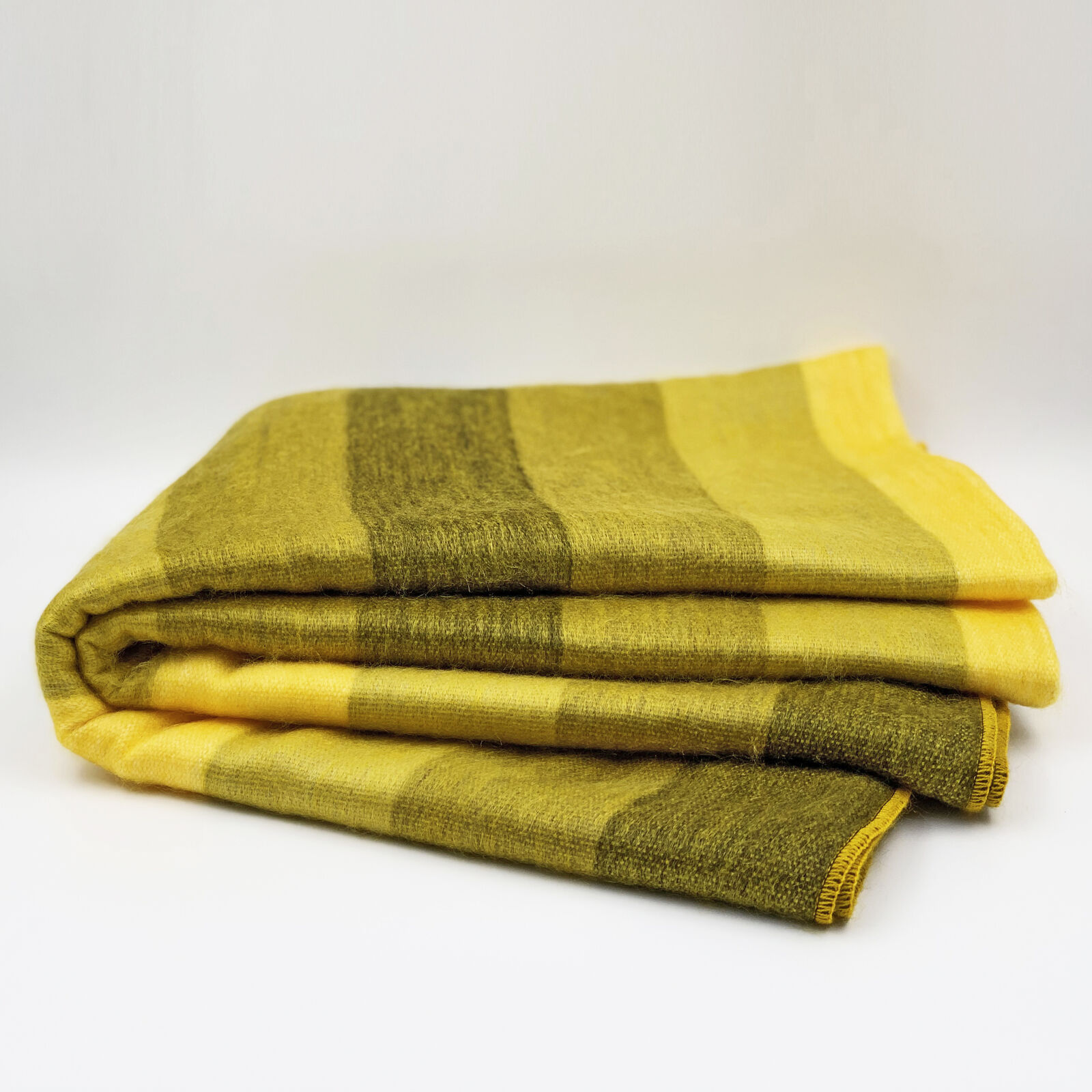 BABY ALPACA WOOL THROW BLANKET QUEEN BED COUCH YELLOW STRIPED SOFT&WARM 90x67in