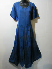 Dress Fits 1X 2X  Plus Long Blue Embroidery Flared Pleated Lace Hem NWT G227