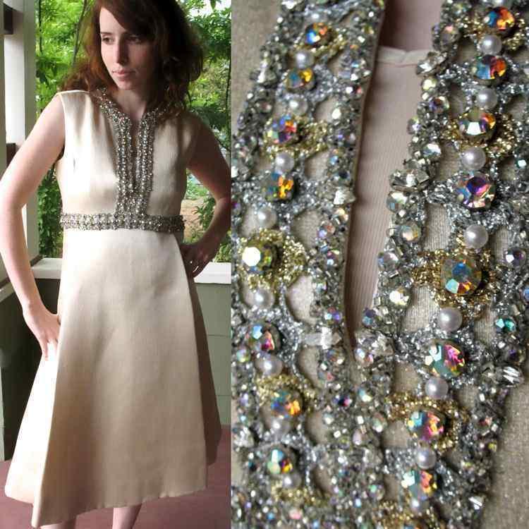 Ceil Chapman Dress VTG 60s Metallic Silk Aurora B… - image 1