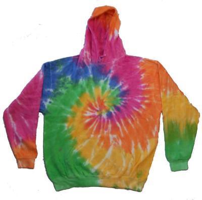 RAINBOW SWIRL TIE DYED ADULT HOODIE sweat shirt tye dye mens womens winter wear