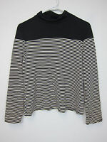Boohoo Lily Striped Rib Fitted Polo Neck - Us 12 - Black -