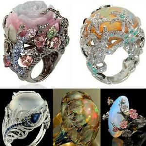 Turkish-Vintage-Jewelry-18K-Black-Gold-Multi-Color-Gemstone-Ring-Wedding-Sz-6-10