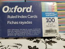 Oxford Ruled Index Cards 100 Assorted Rainbow Colors 3x5 40280