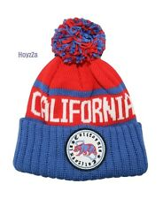 Mens California Republic Cali Bear Cuffed Pome Beanie Skull Thick Hat Blue(Red)