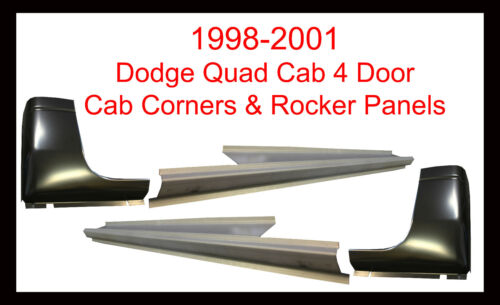 1998-01 DODGE RAM P//U 4DR QUAD CAB OUTER ROCKER PANELS AND CAB CORNERS PAIR