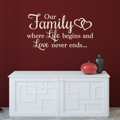 Wall Decal Sticker Quote Our Family where Life begins and Love never ends DF48