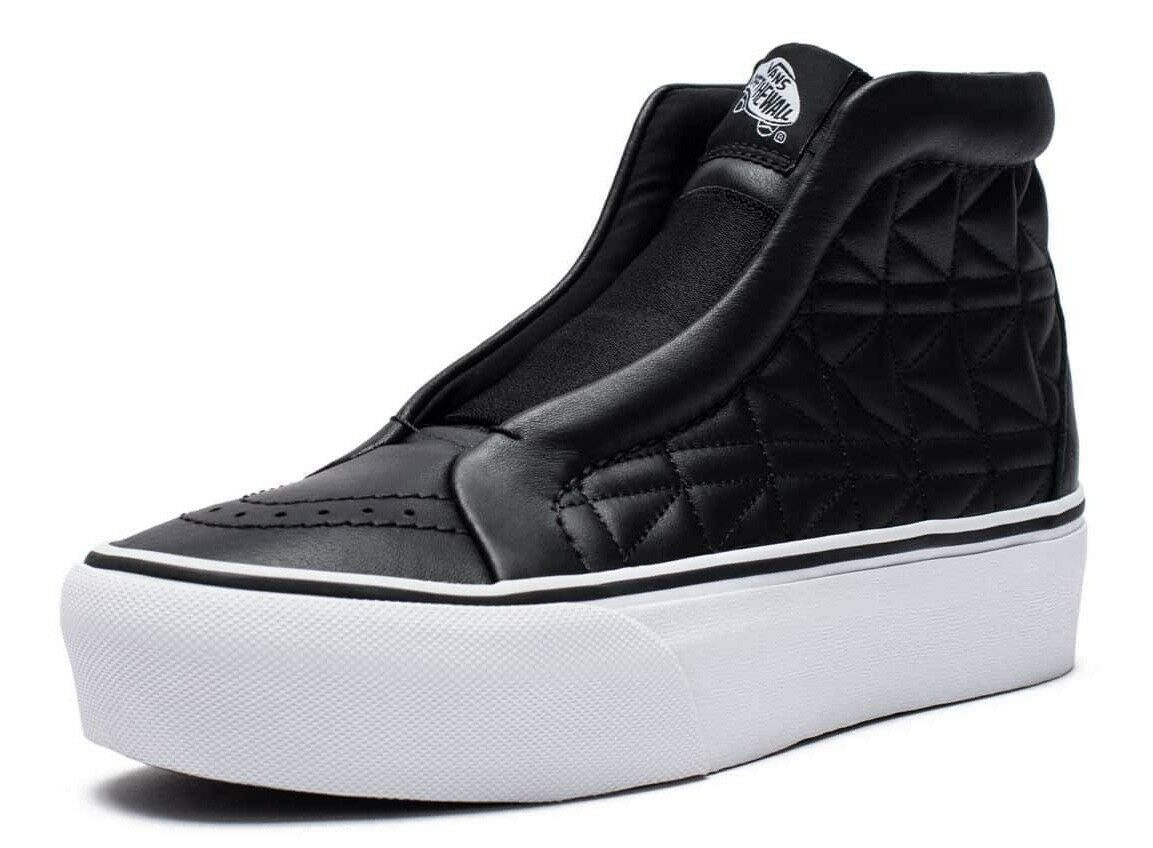 VANS (KARL LAGERFELD) SK8-HI LACELESS PLATFORM LEATHER BLACK SHOES SZ 8.5 WOMENS