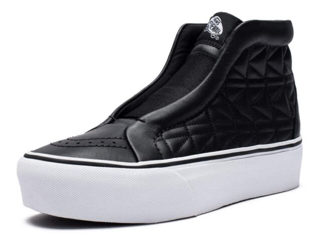62f73b5144ea VANS (KARL LAGERFELD) SK8-HI LACELESS PLATFORM LEATHER BLACK SHOES SZ 7  WOMENS