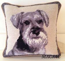 "Schnauzer Dog Needlepoint Pillow 10""x10"" NWT"