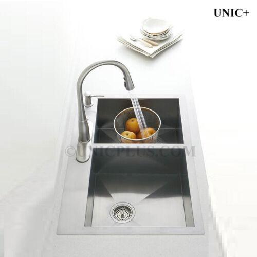 "KTS3021D New 30/"" Top-Mount Zero-radius Corners Kitchen double bowl 50//50 Sink"