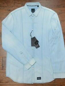 Armani-Exchange-A-X-Men-039-s-Regular-Fit-Denim-Washed-Blue-Cotton-Casual-Shirt-L