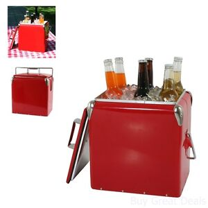 12 Qt Metal Old Fashioned Chest Ice Retro Red Beverage