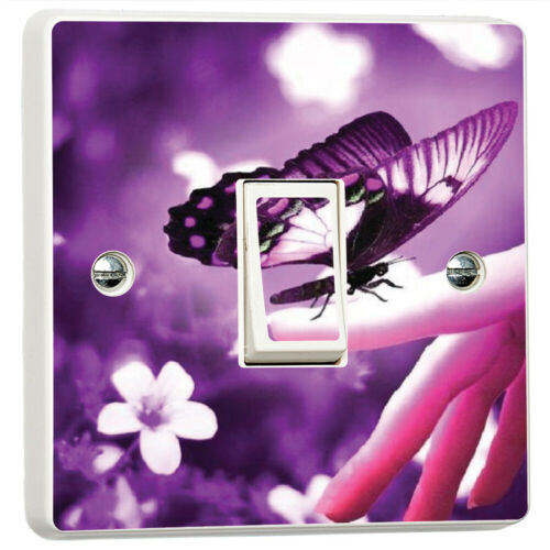 Purple Butterfly Flowers Vibrant Light Switch Cover Skin Sticker Decal