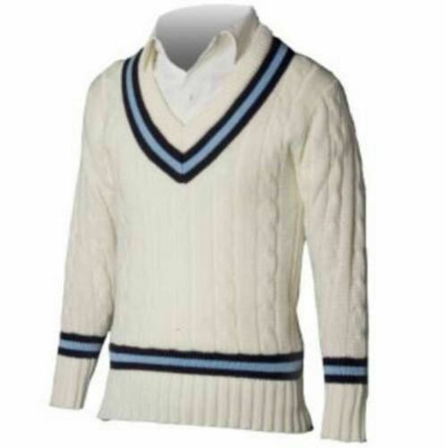 Cricket Sweater Traditional Style Acrylic Plain Pullover Jumper Navy//Sky
