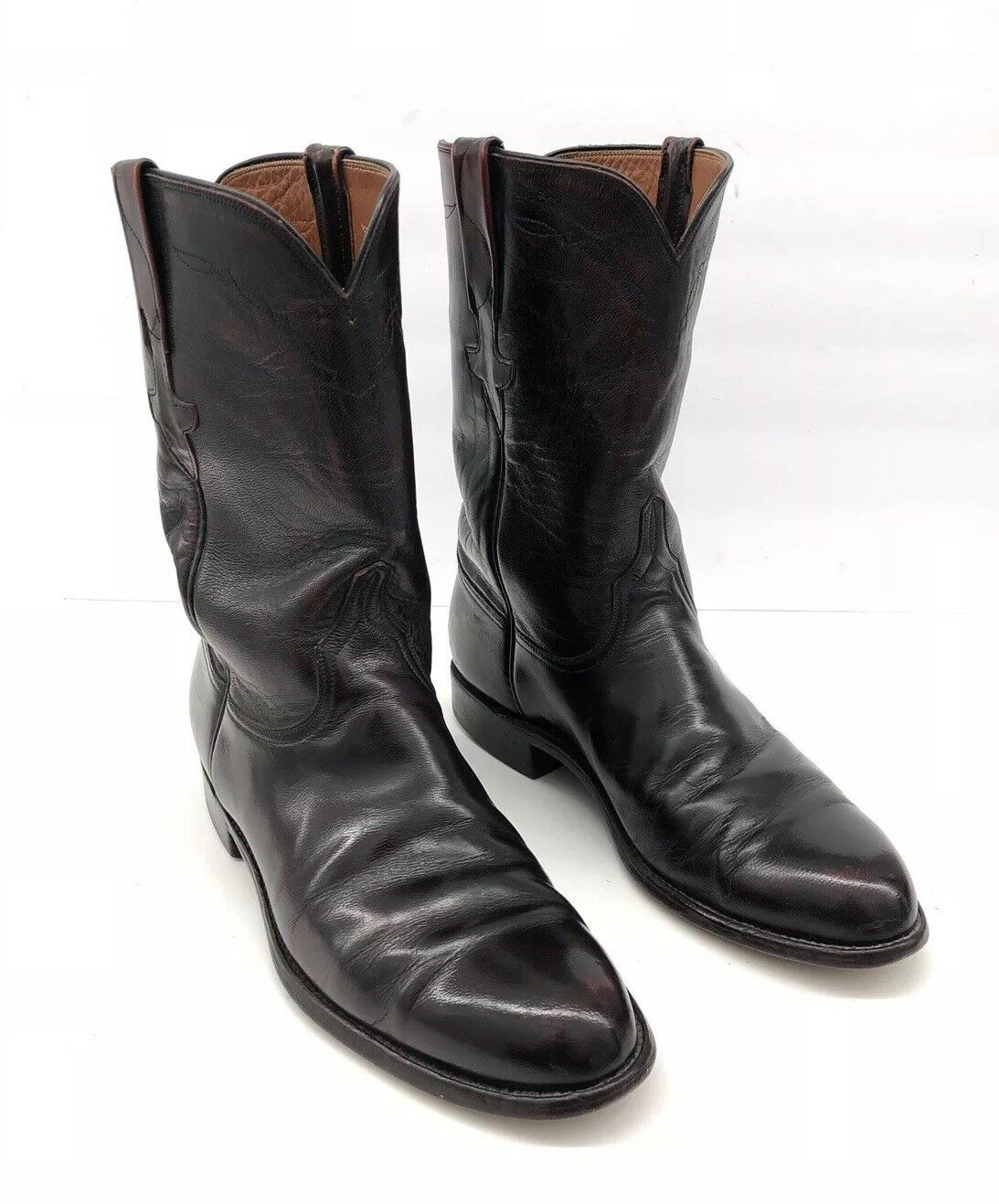 LUCCHESE SAN ANTONIO LEATHER BURGUNDY CHERRY ZIP UP COWBOY BOOTS MENS SIZE 8 D