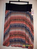 Lark Lane Pleated Print Women's Skirt With Yoke Waist - Size 18 Nwta Free Shpg
