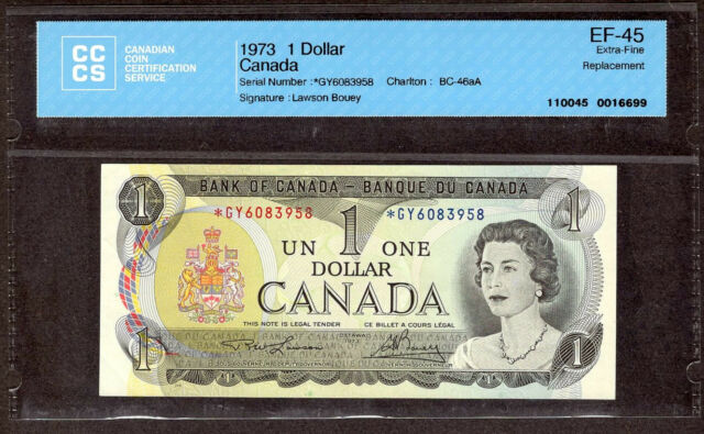 1973 $1.00 *GY BC-46aA CCCS Graded EF-45 ** SCARCE Key ASTERISK REPLACEMENT Note