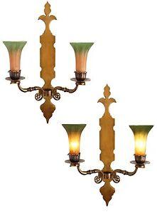 2-pezzi-molto-grande-Art-Nouveau-ottone-luce-da-parete-BLAKER-GIGLI-Lampada