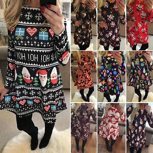 Damenkleid Kleider Dress Partykleid Weihnachten Skater Christmas Swing Minikleid