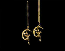 *CKstella*  Tinkering Fairy & Moon Star GP Threader 14K Gold gf  Thread Earrings
