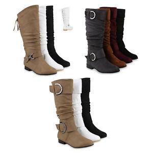 Details zu Klassische Damen Stiefel Langschaft Schnallen Leder Optik 812510 Schuhe