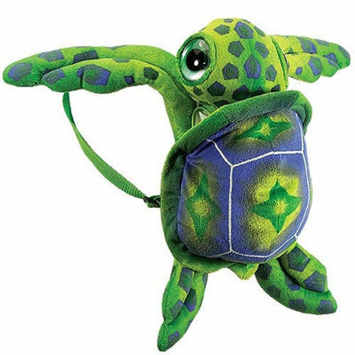 "Backpack Toddler 18"" Plush Green Sea Turtle Girl Boy NEW"