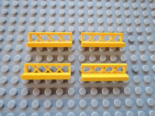 Lego 4 x Zaun Gitter Sitzbank 3633 gelb 1x4x1