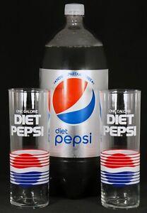 Vintage-80s-Diet-Pepsi-Tall-Glasses-Set-of-2-One-Calorie-Soda-Pop-14-oz-Tumbler