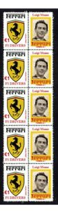 LUIGI-MUSSO-FERRARI-F1-DRIVER-STRIP-OF-10-MINT-VIGNETTE-STAMPS