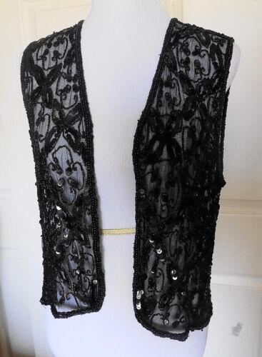Vintage Black Sequin Mary McFadden Net Party Vest