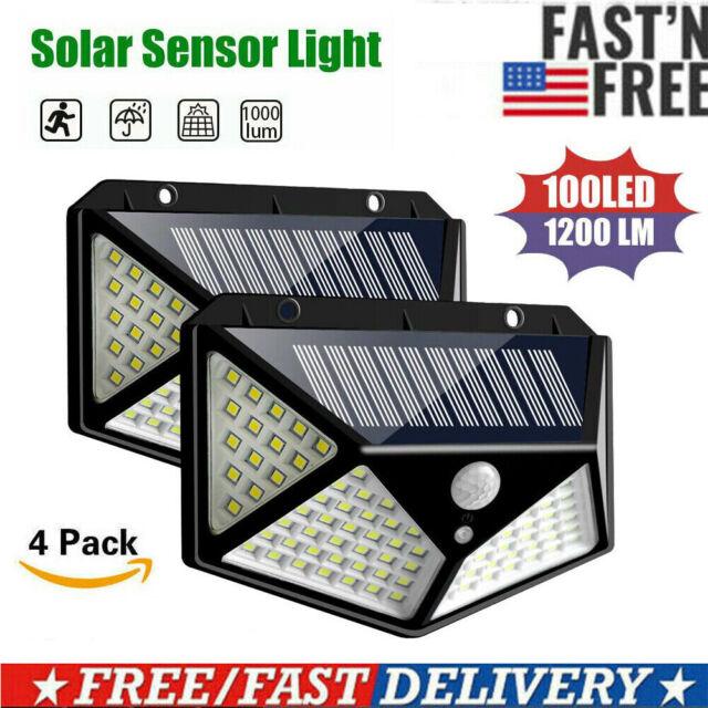 4 Pack 100 LED Solar Wall Lights Motion Sensor Outdoor Garden Lamp Waterproof US