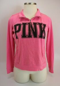 Victoria-039-s-Secret-Pink-Quarter-Zip-Sweatshirt-Sz-Medium