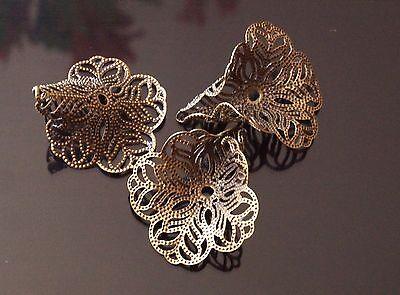 10x Antique Bronze Bead Caps Cones Flower Filigree 24mm x 29mm TSC55P