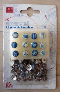 DCI Travel Thumb Tacks Blue White Round Push Pins Drawing Pins Plane Taxi Train