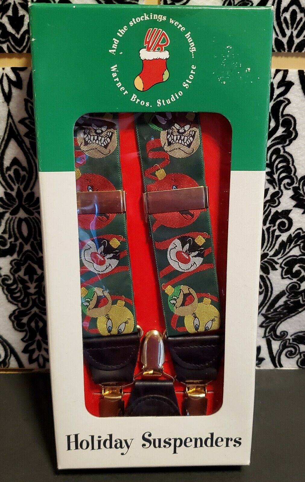 ONE Vintage Looney Tunes Holiday Suspenders - Taz Sylvester Tweety Bugs 1997 Box