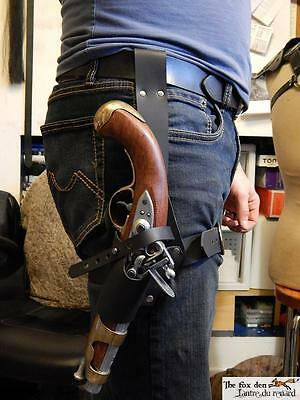 Pirate universal leather leg holster for flintlock pistol, very high quality!