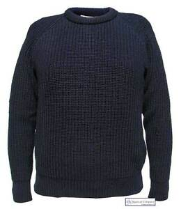 8a566760c1c74a NEW Men Fisherman's Jumper Navy Blue Chunky Knit 100% Wool Sweater ...