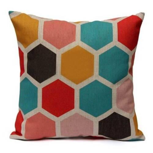 "18/"" Retro Geometric Home Decoration Linen Cotton Throw Pillow Case Cushion Cover"