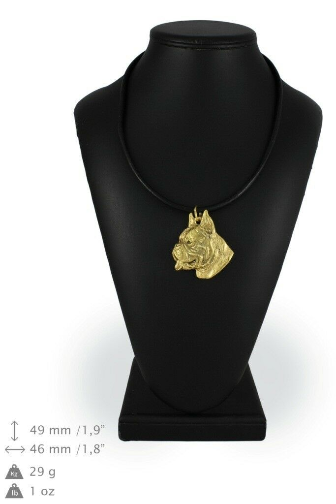 Boxer - Gold coverot necklace with dog, high quality Art Dog