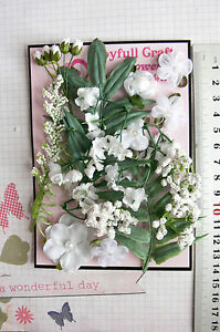 WHITE-amp-GREEN-FOLIAGE-18-Flowers-i-Foliage-7-Style-PAPER-amp-FABRIC-5-35mm-HH5